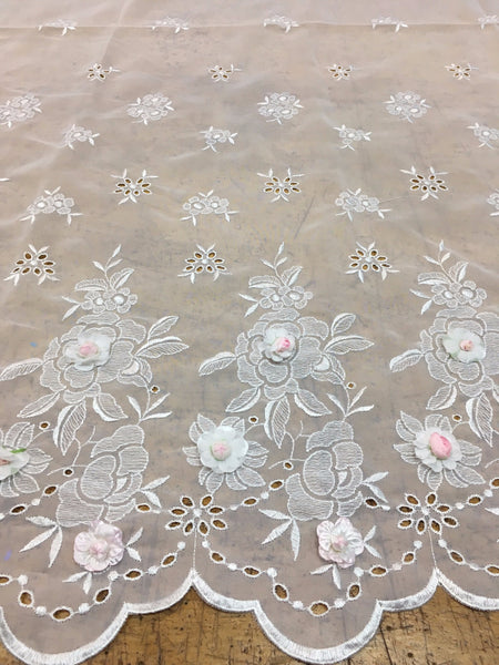 White Chiffon lace with floral embroidery pink 3D flowers