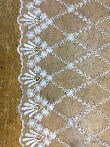 White Net lace with floral embroidery