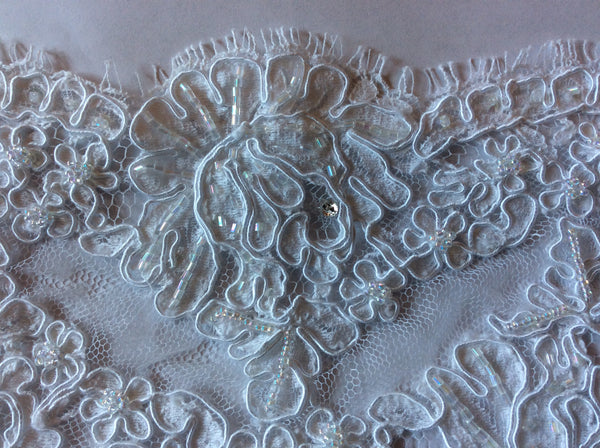 "4"" French Beaded Alencon Lace Trim Color: White"
