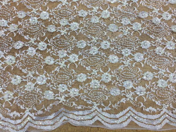 White Beaded Lace with pearls and Sequin