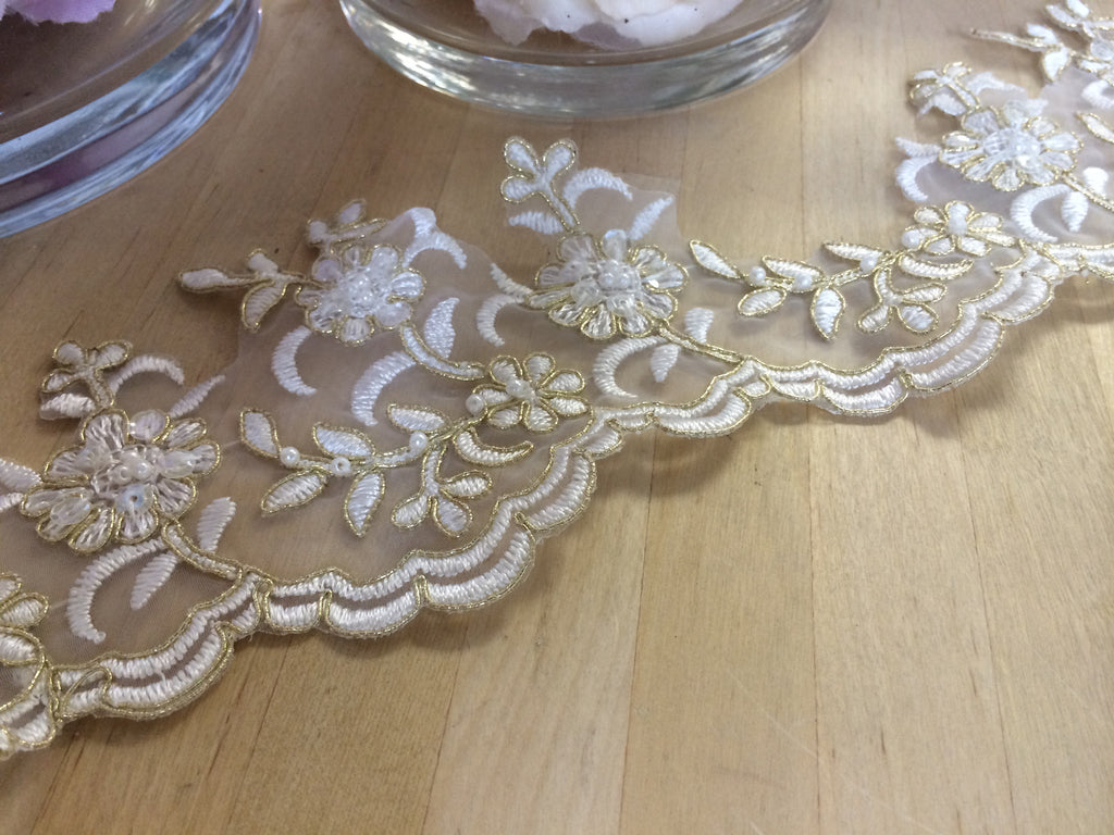 White Beaded Organza Trim with Metallic Gold Re-Embroidered