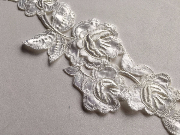 White satin trim Lace