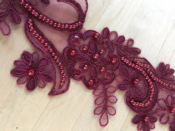 Wine Beaded Applique