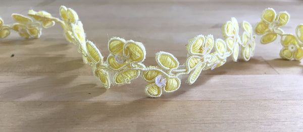 Yellow Floral Re-embroidered sequin Trim