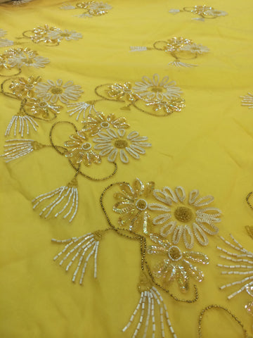 Yellow Chiffon with floral embellishment