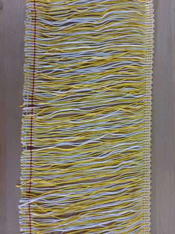 "Yellow and White fringe 6"" long"