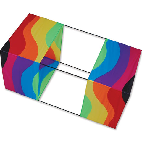 40 in. Box Kite - Wavy Rainbow