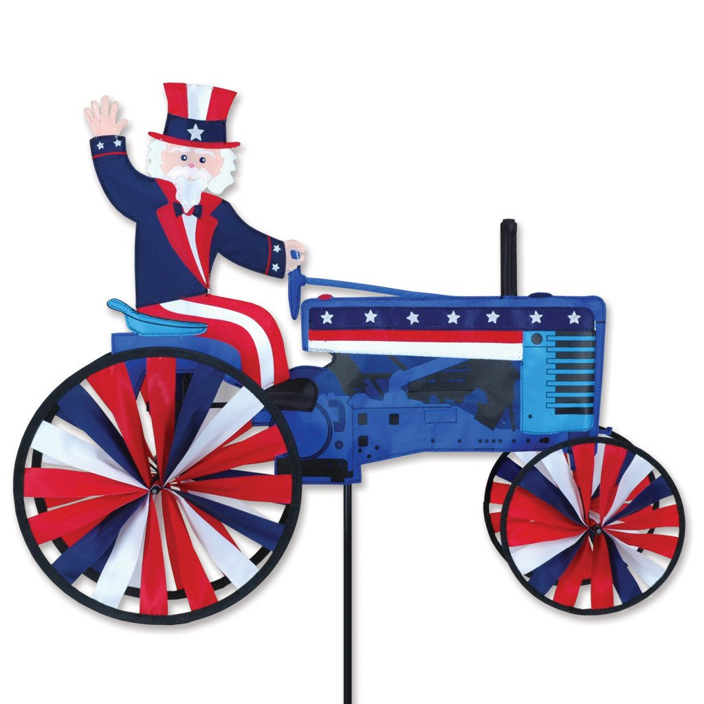 29 in. Uncle Sam On A Tractor Spinner