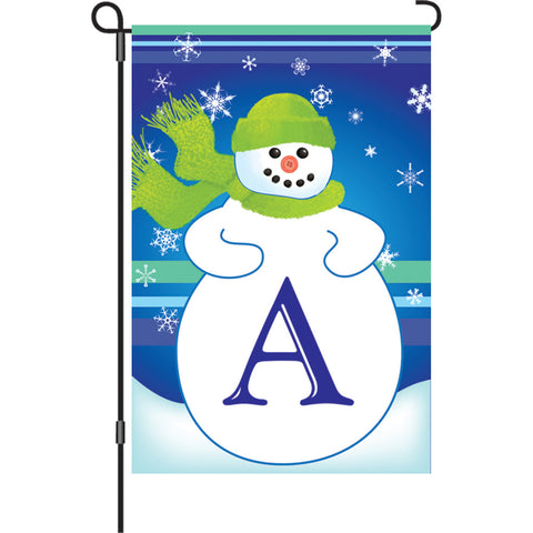 12 in. Monogrammed Garden Flag - Winter Monogram - Letter A