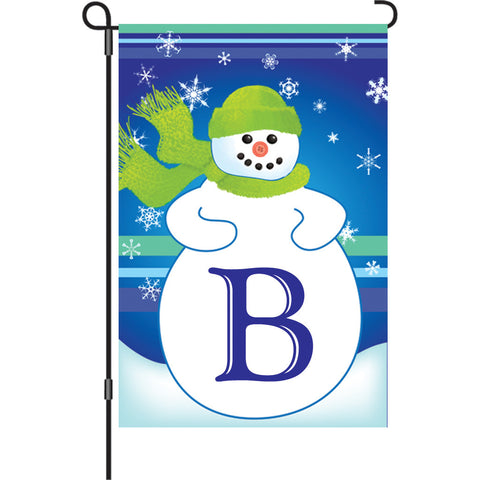 12 in. Monogrammed Garden Flag - Winter Monogram - Letter B