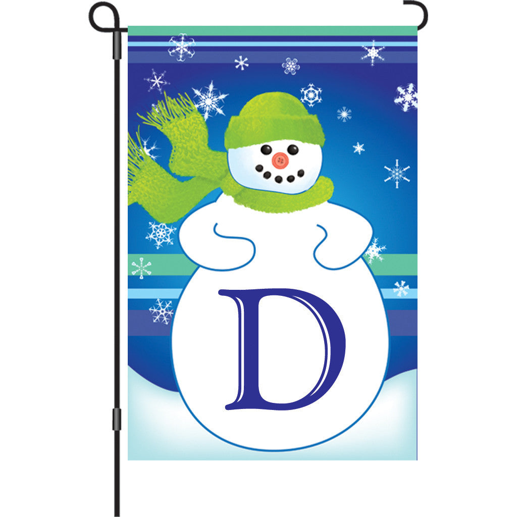 12 in. Monogrammed Garden Flag - Winter Monogram - Letter D