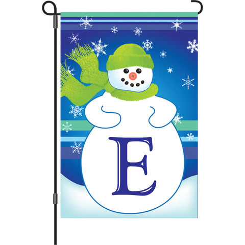 12 in. Monogrammed Garden Flag - Winter Monogram - Letter E