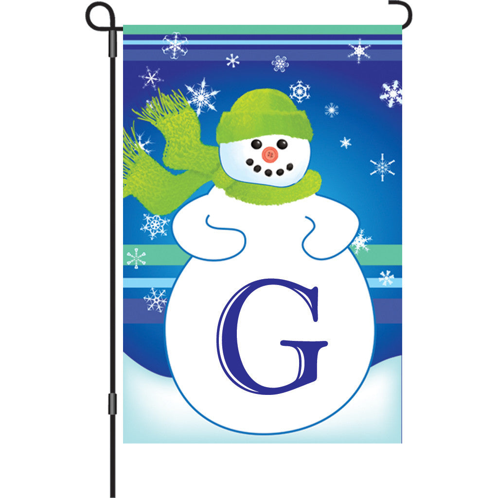 12 in. Monogrammed Garden Flag - Winter Monogram - Letter G