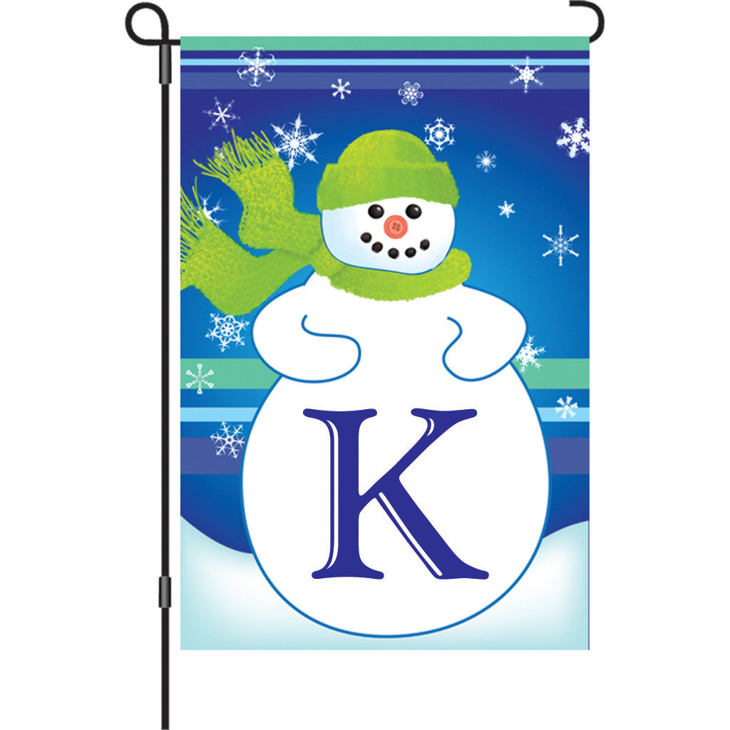 12 in. Monogrammed Garden Flag - Winter Monogram - Letter K