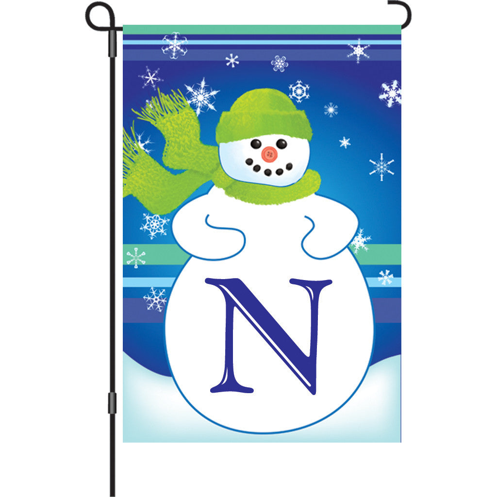 12 in. Monogrammed Garden Flag - Winter Monogram - Letter N