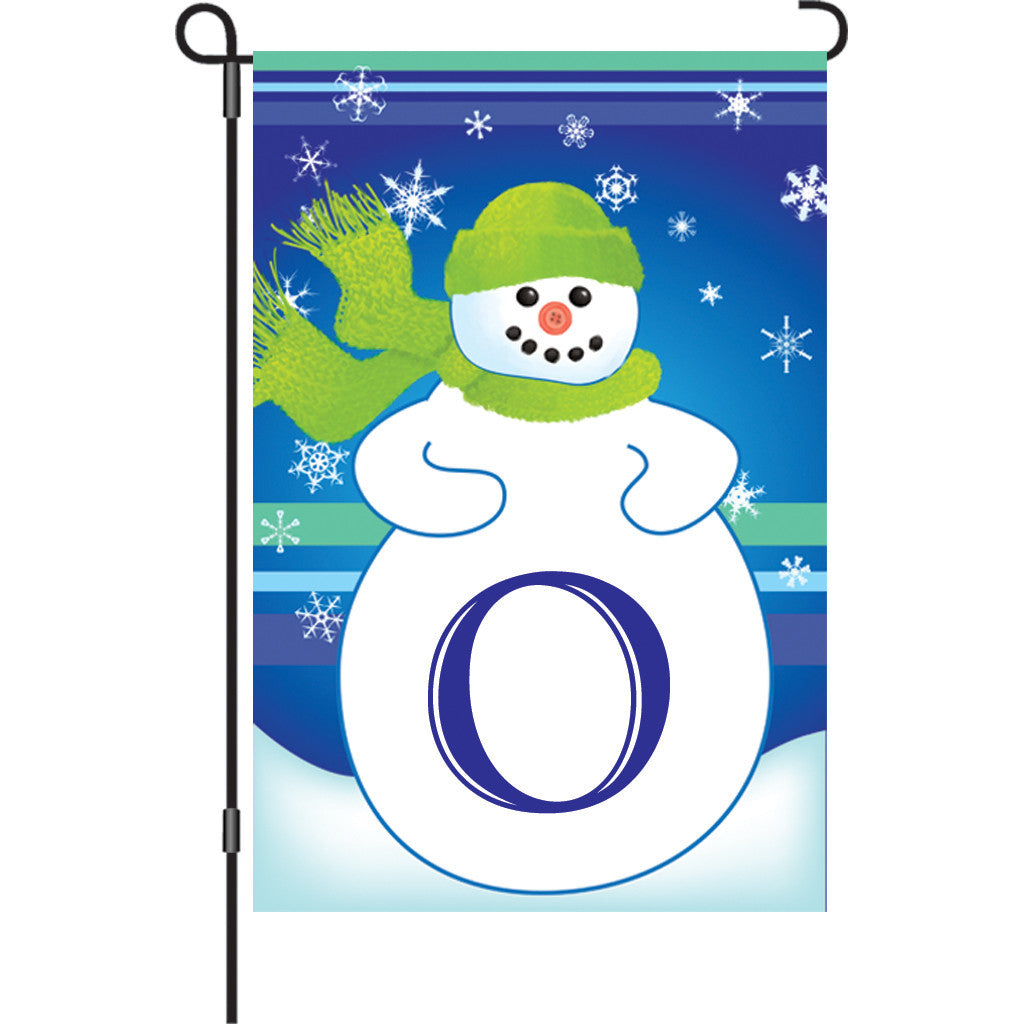 12 in. Monogrammed Garden Flag - Winter Monogram - Letter O