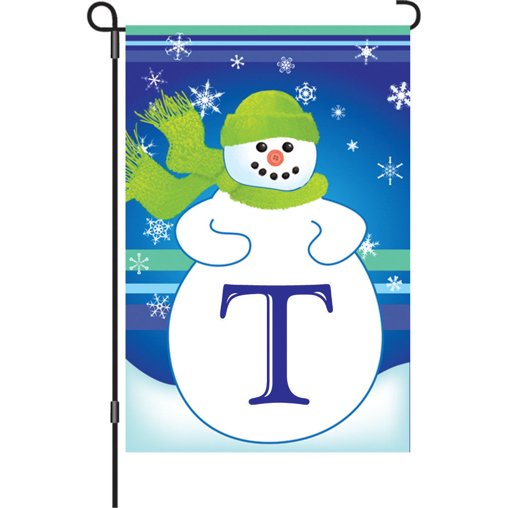 12 in. Monogrammed Garden Flag - Winter Monogram - T