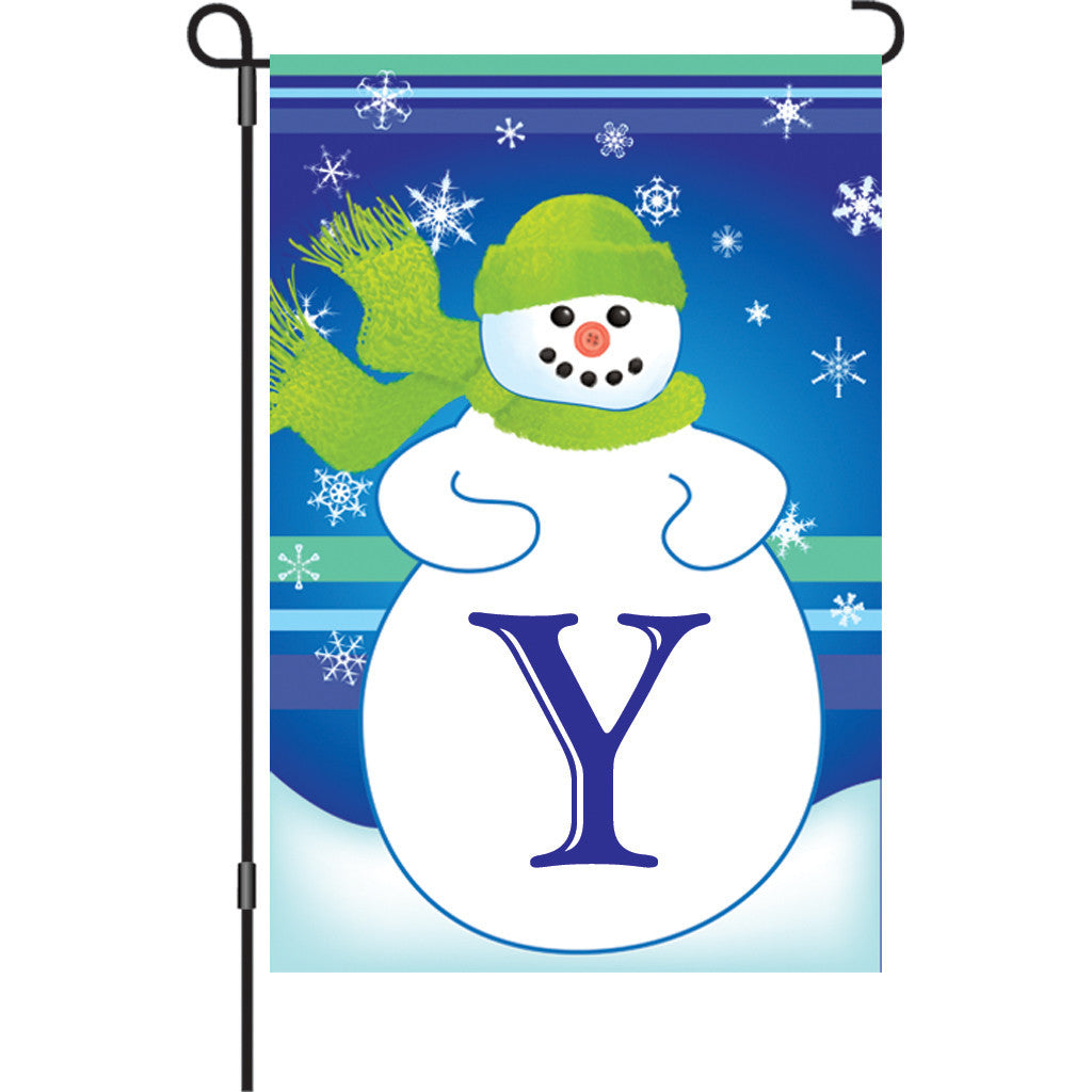 12 in. Monogrammed Garden Flag - Winter Monogram - Letter Y