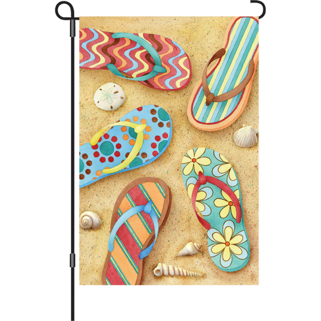12 in. Coastal Beach Garden Flag - Flip Flops in the Sand