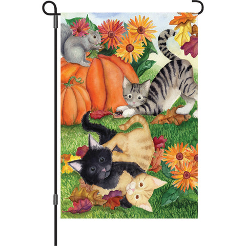 12 in. Autumn Garden Flag - Harvest Kittens