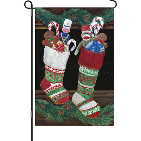 12 in. Christmas Garden Flag - Christmas Stockings