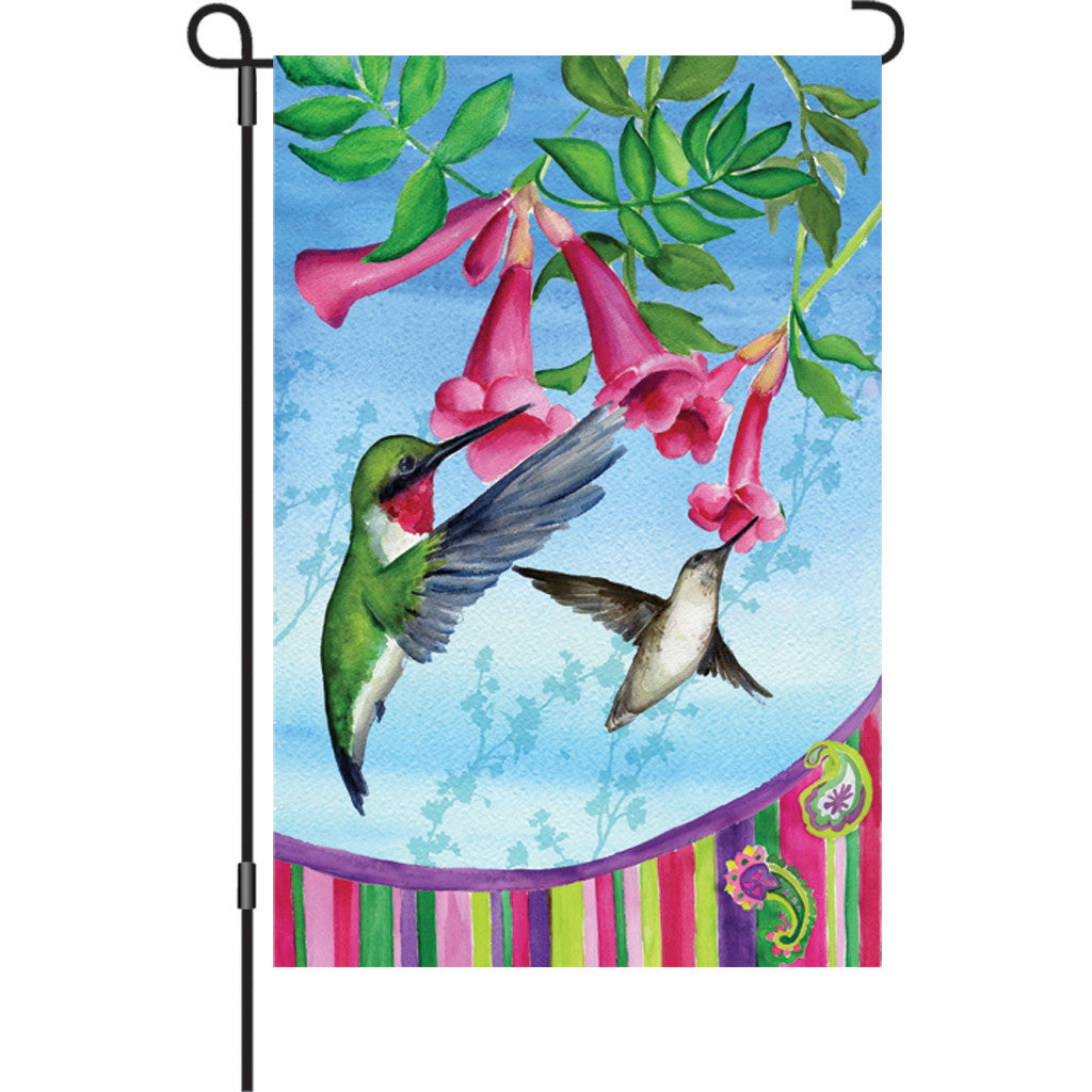 12 in. Bird Garden Flag - Hummingbird's Paisley
