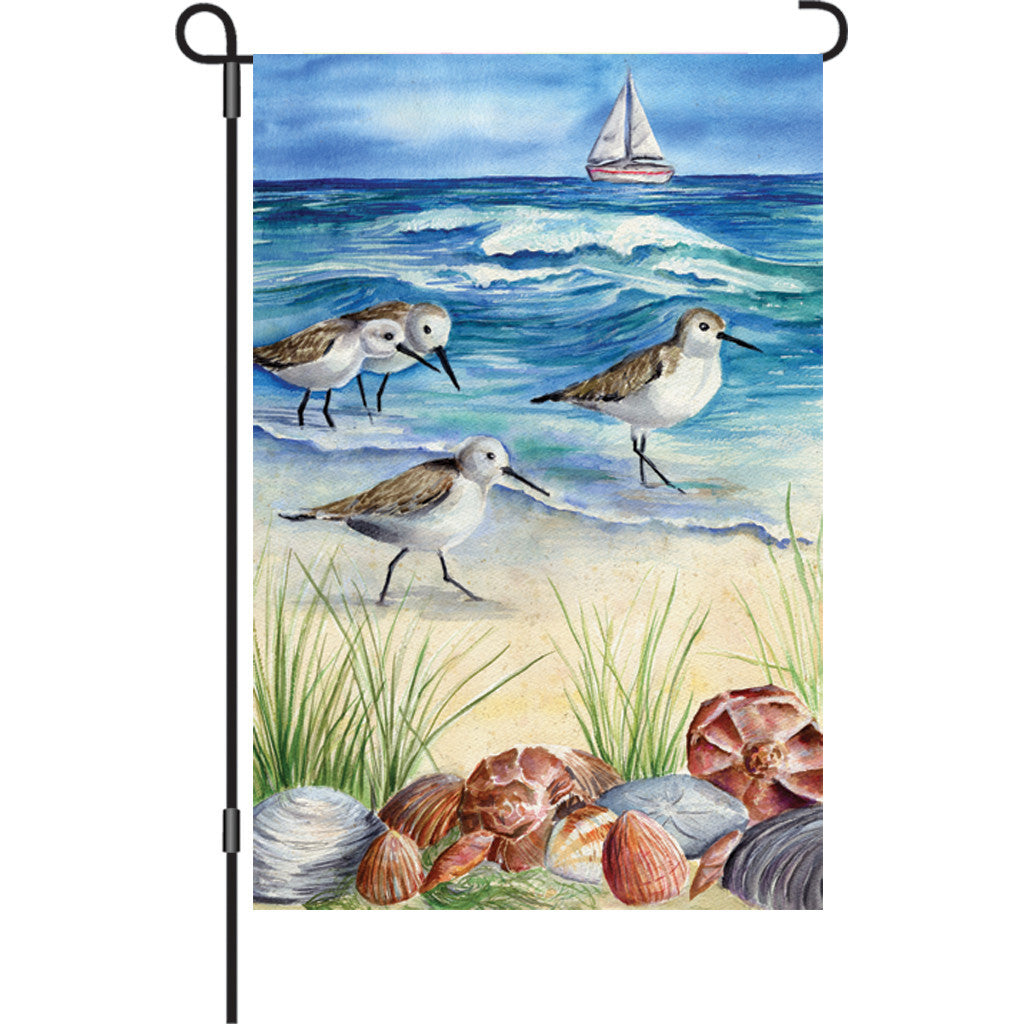 12 in. Beach Garden Flag - Shore Birds
