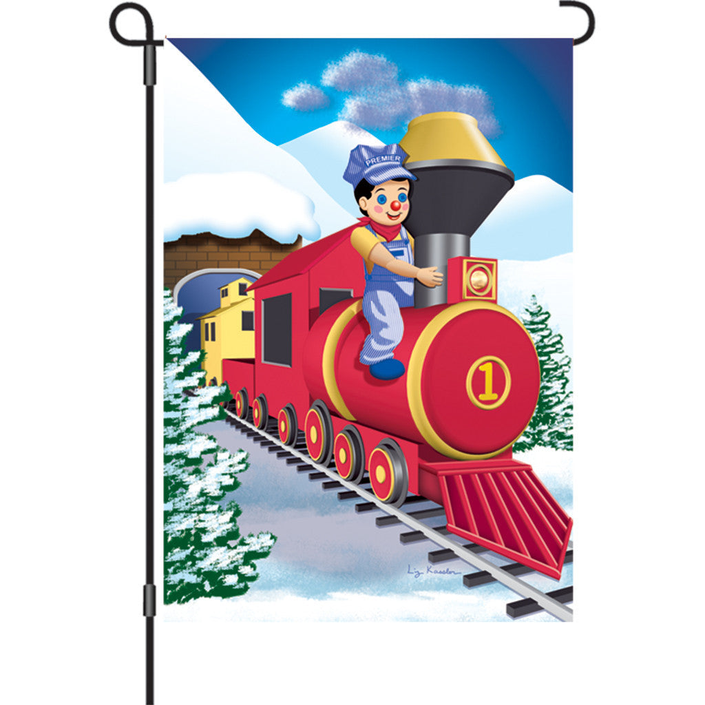 12 in. Winter Train Garden Flag - Polar Express