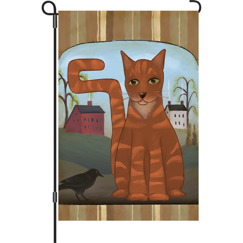 12 in. Cat Garden Flag - Country Tabby