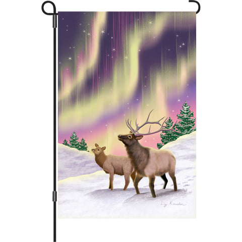 12 in. Winter Garden Flag - Northern Lights