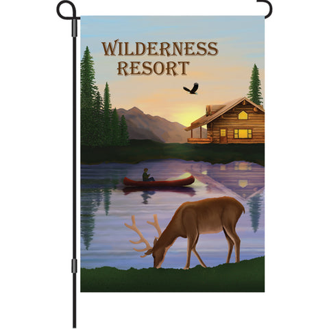 12 in. Lakeside Log Cabin Garden Flag - Wilderness Resort