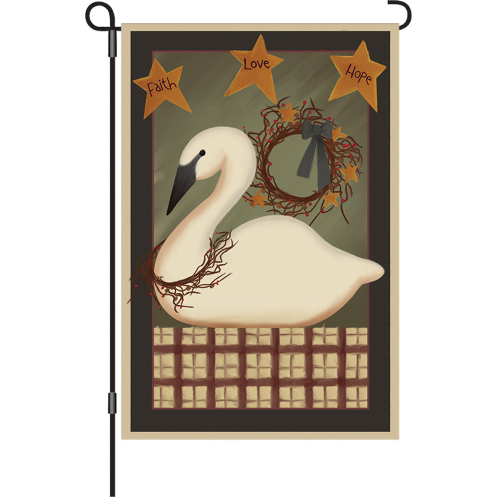 12 in. Country Garden Flag - Country Swan