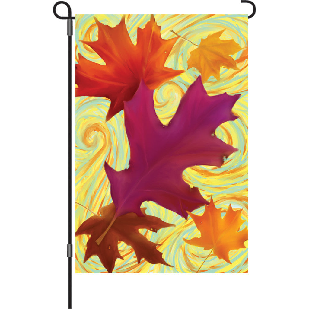 12 in. Autumn Garden Flag - Swirling Leaves