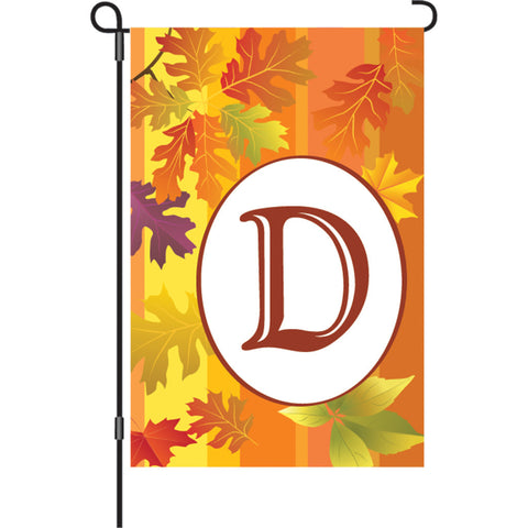12 in. Monogrammed Garden Flag - Fall Monogram - Letter D