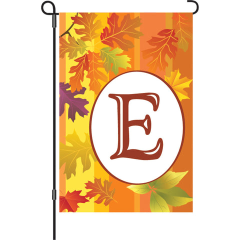 12 in. Monogrammed Garden Flag - Fall Monogram - Letter E