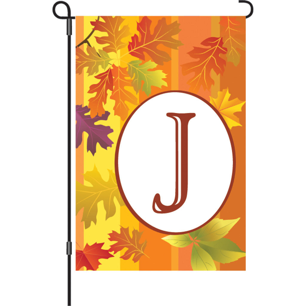 12 in. Monogrammed Garden Flag - Fall Monogram - Letter J