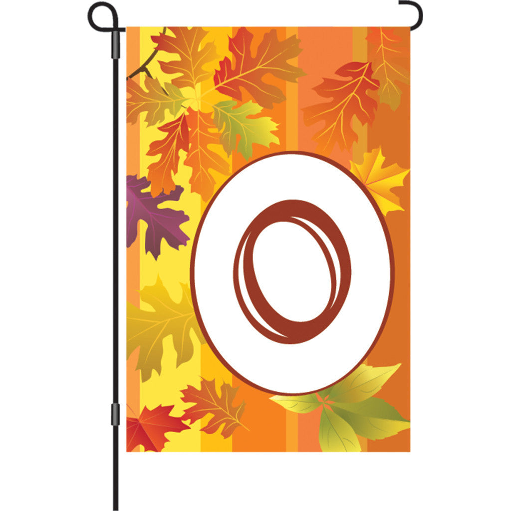 12 in. Monogrammed Garden Flag - Fall Monogram - Letter O