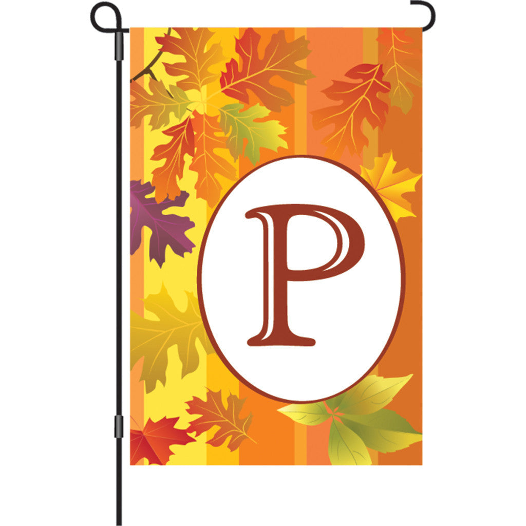 12 in. Monogrammed Garden Flag - Fall Monogram - Letter P