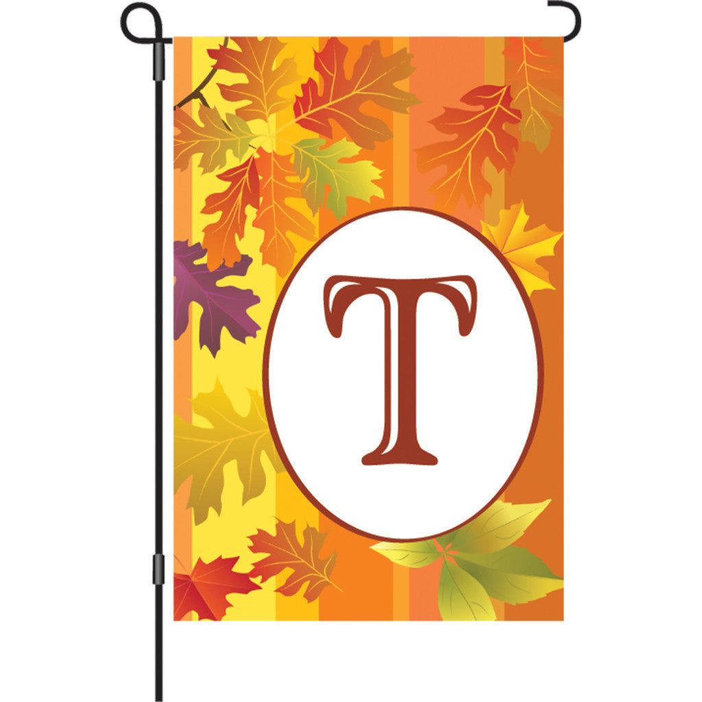 12 in. Monogrammed Garden Flag - Fall Monogram - Letter T