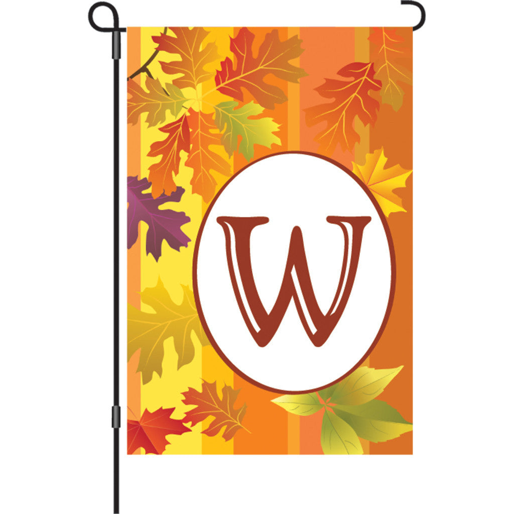 12 in. Monogrammed Garden Flag - Fall Monogram - Letter W