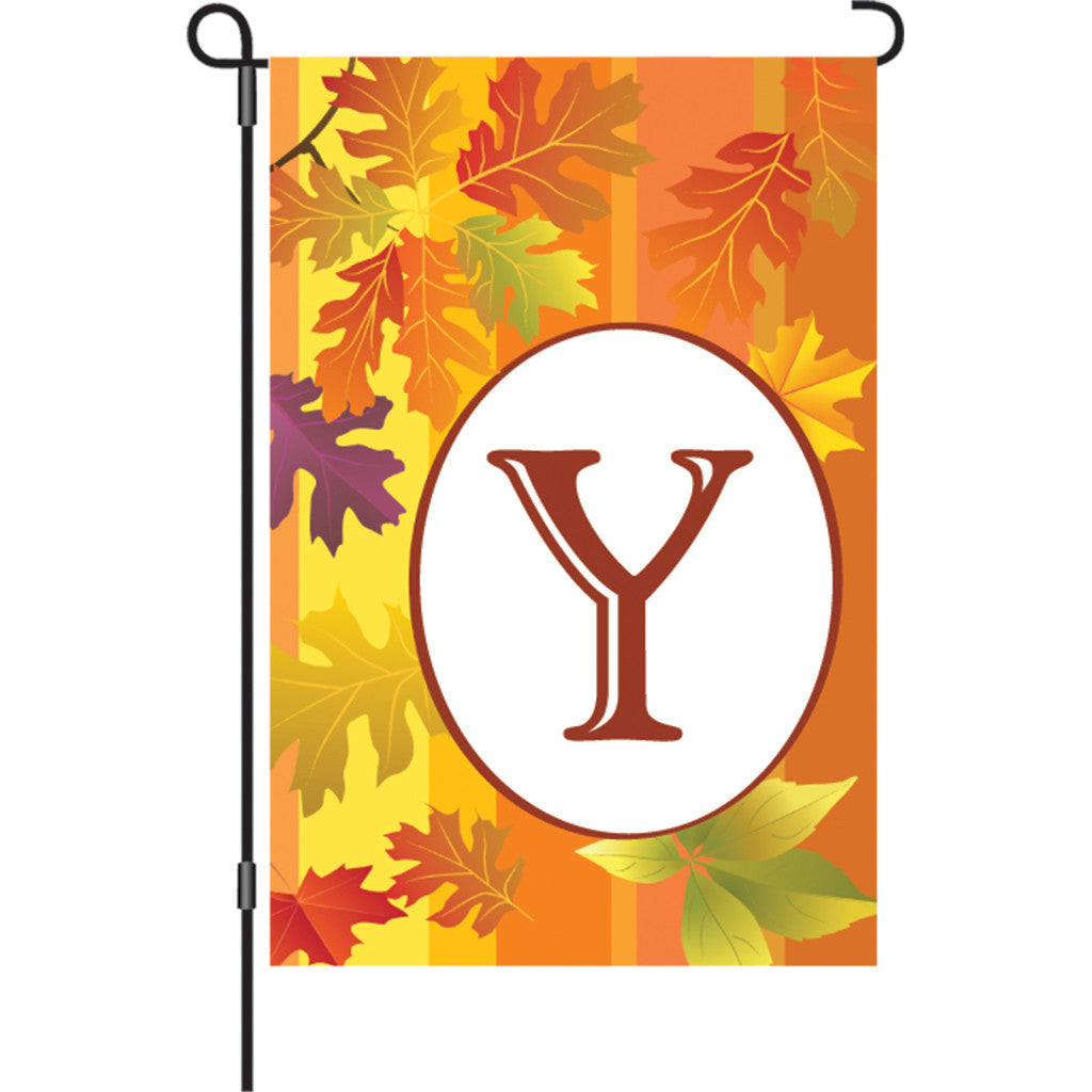 12 in. Monogrammed Garden Flag - Fall Monogram - Letter Y