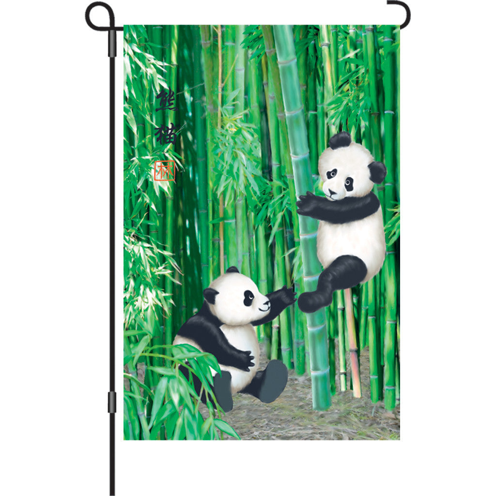 12 in. Pandas in Bamboo Garden Flag - Playful Pandas