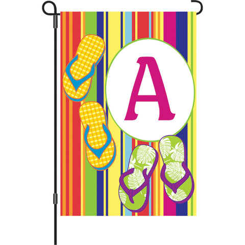 12 in. Monogrammed Garden Flag - Summer Monogram - Letter A