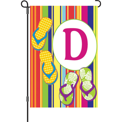 12 in. Monogrammed Garden Flag - Summer Monogram - Letter D