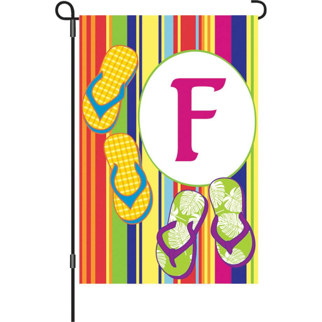 12 in. Monogrammed Garden Flag - Summer Monogram - Letter F