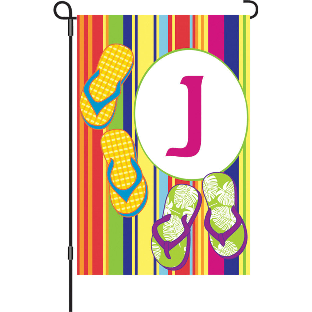 12 in. Monogrammed Garden Flag - Summer Monogram - Letter J