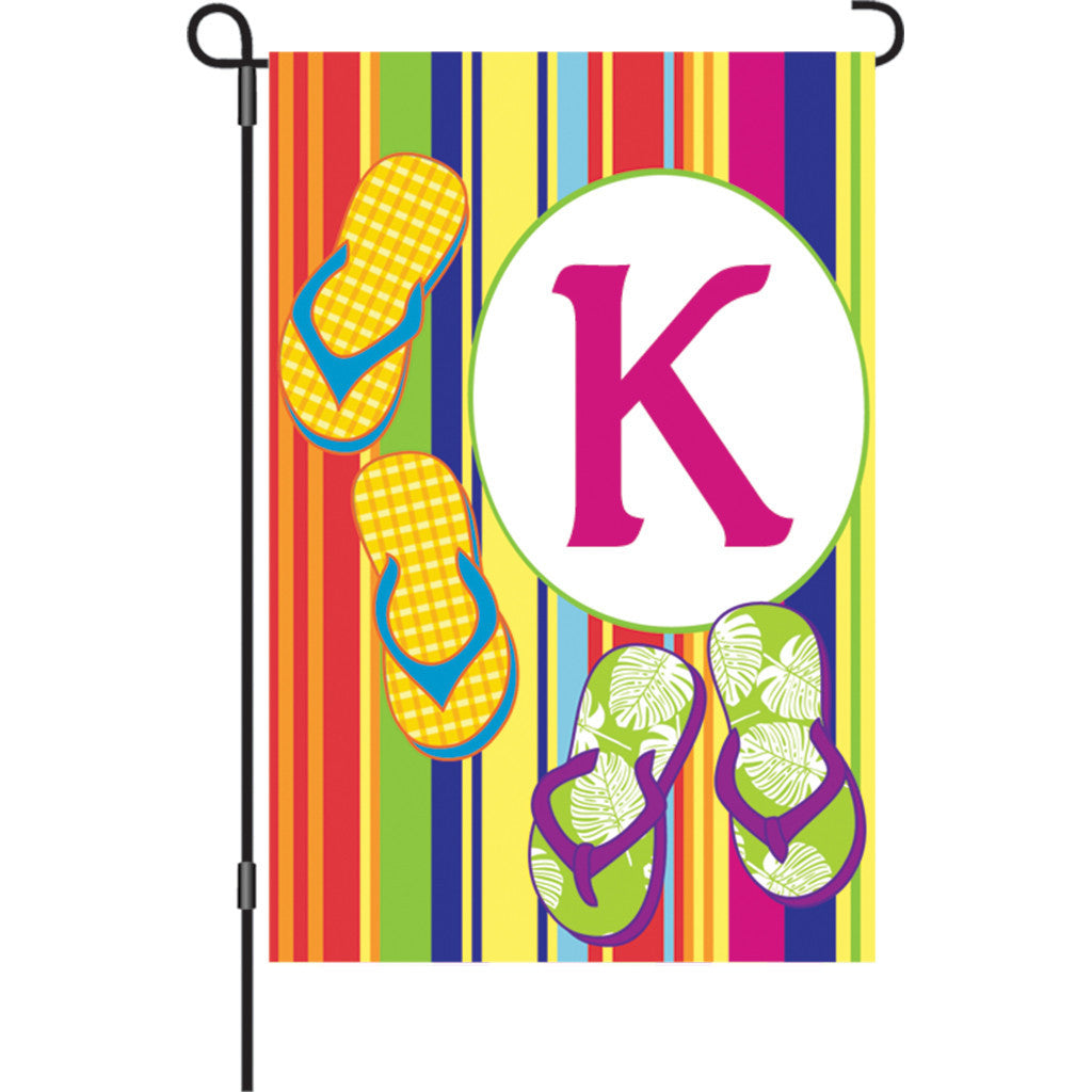 12 in. Monogrammed Garden Flag - Summer Monogram - Letter K
