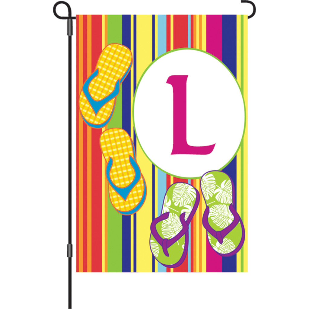 12 in. Monogrammed Garden Flag - Summer Monogram - Letter L