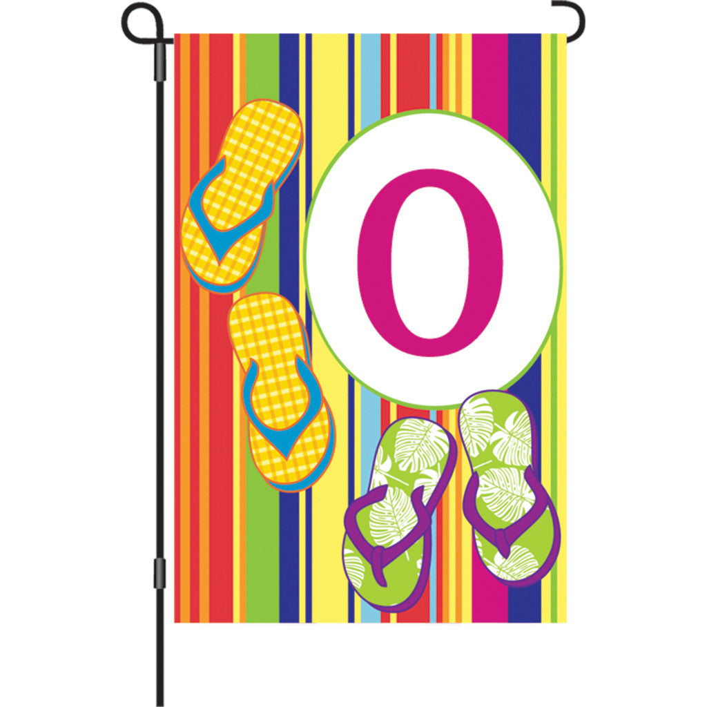 12 in. Monogrammed Garden Flag - Summer Monogram - Letter O