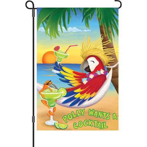12 in. Summer Party Garden Flag - Polly Wants a Cocktail